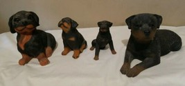 Lot Of 4 Vintage Sitting Rottweiler Dog Figurine Lifelike Puppy Musical ... - $48.45