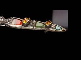 """LARGE Vintage Brooch Scottish Dirk Kilt pin - bloodstone  citrine agate 3 1/2"""" l image 2"""