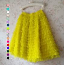 Lemon Yellow Midi Skirt Outfit Yellow Tiered Tulle Skirts Ballerina Tulle Skirt  image 5