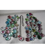 Necklace Glass Gem and 30 Mix Assorted Round Fl... - $17.00
