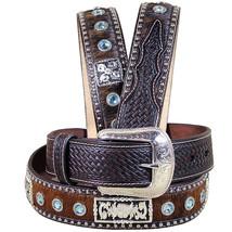 3D Brown Mens Blue Crystels Fashion Leather Hair On Belt U-9924 - $73.06