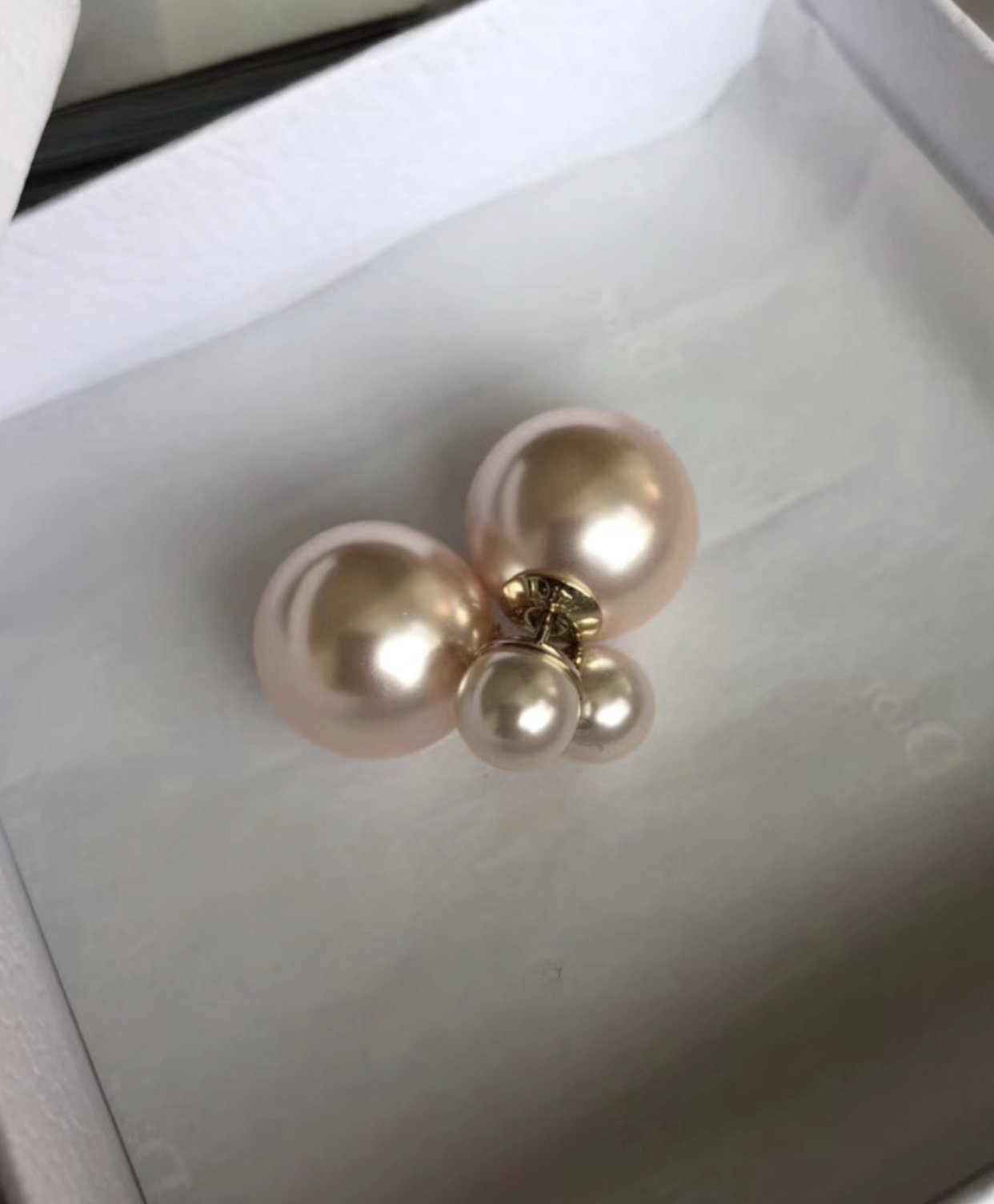 Primary image for Auth Christian Dior Mise En Dior Tribal Double Pearl Earings Powder Pink Gold