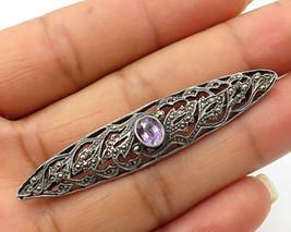 925 Silver - Vintage Lilac Cubic Zirconia & Marcasite Bar Brooch Pin - B... - $27.74
