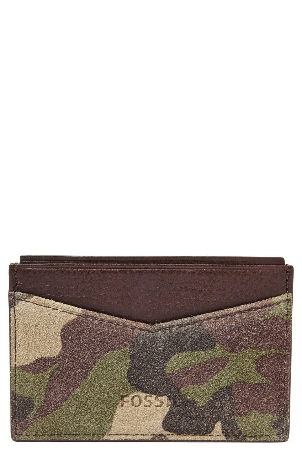 Fossil Gordon Card Case Camouflage, ML3663B346 Leather