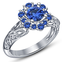 White Gold Over Pure 925 Silver Round Cut Blue Sapphire Engagement Women... - $75.88