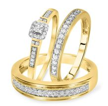 1.50Ct Princess Cut Trio Wedding Engagement Rings Set 14k Yellow Gold Finish     - $109.99