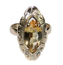 14k Yellow Gold Vintage 1.50ct Citrine Ladies Ring Size 5.25 - $250.00