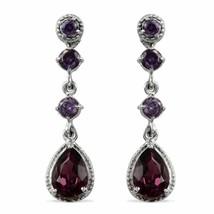 Purple Crystal Dangle Earrings in Stainless Steel Made with SWAROVSKI 5.... - $15.25