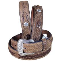 U-4-46 46 Inch Western Nocona Conchos Leather Mens Belt Ostrich Tan Overlay - $48.95