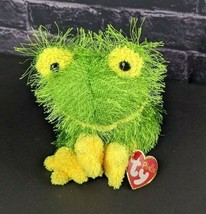 Ty Punkies Hopscotch Frog Green Yellow Plush Shaggy 2002 Beanie Bean Bag  - $17.81