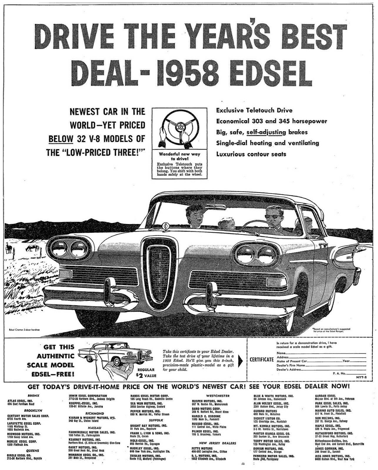 Primary image for 1958 Ford Edsel News Paper Ad | 24X36 inch poster | Great looking!
