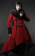 Crimson Evil Queen Brocade Gothic Victorian Winter Long Corset Steampunk... - $167.99