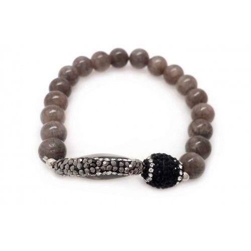 Natural Agate & Jasper Stretch Bracelet (815BR111)