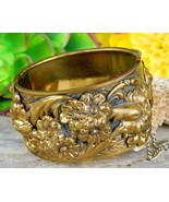 Vintage Hinged Cuff Bangle Bracelet Ornate Gold Brass Flowers Floral - $52.95