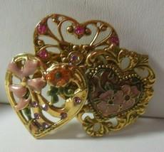 Vintage Signed K C Enamel, Rhinestone Triple Heart brooch - $18.80