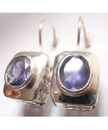 Faceted Oval Iolite Wire Back Earrings 925 Sterling Silver Rectangle 8 Grams New - $22.72