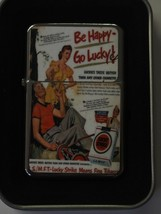 Vintage Art Work Windproof Dual Flame Torch Lighter Lucky Strike Be Happy - $23.70