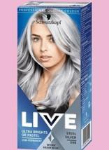 2 x Schwarzkopf Live Semi Permanent Hair Dye STEEL SILVER 15 washes Ligh... - $25.18