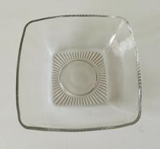 Vintage Square Clear Cut Glass Serving Dish Bowl Mid Century Design - $4.23