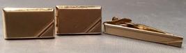 Swank Gold Tone Cufflinks & Matching Tie Clip Vintage- Tie Clip Marked 50 - $10.94