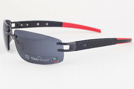 Tag Heuer L-Type T 0402 120 PVD Black & Red Leather / Gray Sunglasses 64mm - $979.02
