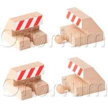 Orbrium Toys Track End Bumper Buffer Stop Set Wooden Railway Fits Thomas Brio Ch image 5