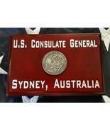 "U.S. Consulate General Sydney, Australia Cherry Wood 4"" X 6"" X .75"" MADE... - $34.65"