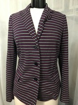 Talbots Women's Blazer Purple Black White Striped 3 Button Size Medium - $14.84