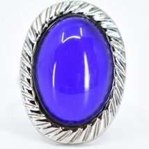 Scalloped Edge Silver Tone Oval Cabochon Color Changing Adjustable Mood Ring image 6