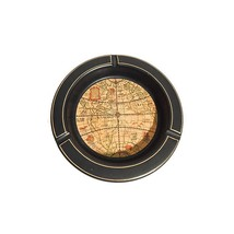 A vintage, midcentury large world globe ashtray(or bowl), navy on the ex... - $57.00