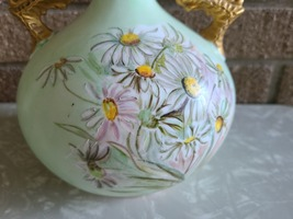 Antique Knowles, Taylor Knowles Lotusware Ceramic Handled Vase, Handpainted image 2