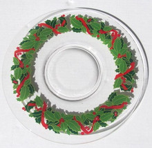New ARCOROC Hand-Pressed Holly and Ivy Christmas Serving Display Glass Platter - $28.00