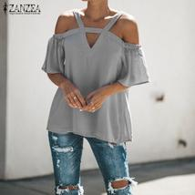 ZANZEA Plus Size Blouse 2018 Summer Women Short Sleeve Shirt Sexy Off Shlouder T image 1