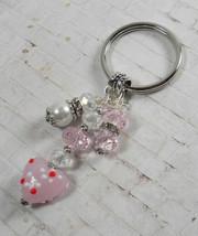 Heart Glass Crystal Rhinestone Beaded Handmade Split Ring Keychain Pink ... - $14.83
