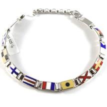 Bracelet Argent 925, Drapeaux Nautique Émaillés,Long 18 cm, Épaisseur 6 MM image 1