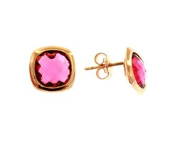 18K ROSE GOLD LOBE EARRINGS BUTTON WITH FUCHSIA SQUARE CRYSTAL CUSHION CUT image 1