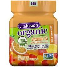 Vitafusion Organic D3 Gummy Vitamin, 90 Count - Non-GMO, Gluten-Free, Dairy-Free