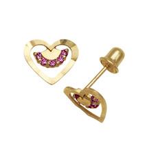 Ruby Birthstone Diamond Cut Open Heart Stud Earrings Screw Back 14K Yell... - $57.41
