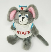 "8"" VINTAGE 1980 ENESCO GREY MOUSE NURSE OUTFIT & HAT STUFFED ANIMAL PLUS... - $26.75"