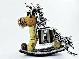 Handmade Raiders Football Theme Ornament California Wine Corks Rocking H... - $13.81