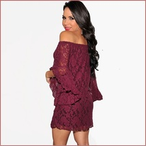 Casual Summer Long Flare Sleeve Off Shoulder Lace Mini Beach Dress in 4 Colors image 4