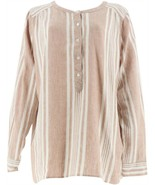Denim & Co Striped Yarn Dyed Woven Top Pebble Tan M NEW A275870 - $35.62