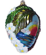 Large Oval Glass Christmas Ornament with Palm Tree, Lei & Steamship - Po... - $14.00