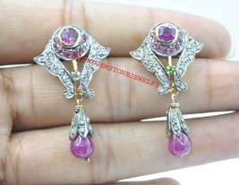 925 Sterling Silver Rose Cut Diamond Ruby Garnet & Peridot Dangle Earrings - $251.52