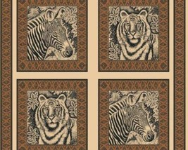 Etched Jungle Zebra Tiger Pillow panel 100% Cotton Fabric by the panel - $7.51