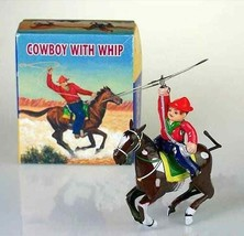 Retro Wind up knight on horse cowboy with whip Mechanical Clockwork tin ... - $29.69
