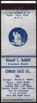 Vintage matchbook cover CONGER SALES CO cow pictured Conger Minnesota un... - $5.39
