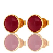 18K Gold Plated 925 Sterling Silver Pink Chalcedony Tiny Stud Earrings J... - $11.88