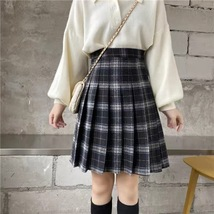 Lady Classic Wine Red Plaid Skirt Plus Size Pleated Plaid Skirt Christmas Outfit image 11