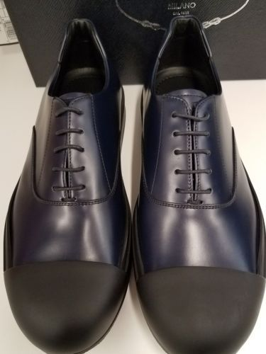 I AM IN LOVE! Prada Men's Navy/Black Leather Cap Toe Lace Up NEW Authentic US 9